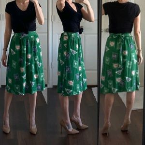 Anthropologie Porridge green stamp midi skirt